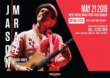 Jason Mraz returning to Bangkok with his  JASON MRAZ GOOD VIBES TOUR                                                                                           on 21 May 2019