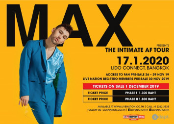 The next pop icon MAX to make his first visit to Thailand with exclusive Bangkok concert  Tickets on sale from 1 December via ThaiTicketMajor outlets