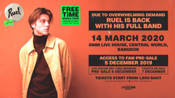 l returning to Bangkok in March 2020 for one bigger show after sold outs this year - RUEL FREE TIME WORLD TOUR Live in Bangkok
