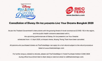 Cancellation of Disney On Ice presents  Live Your Dreams Bangkok 2020