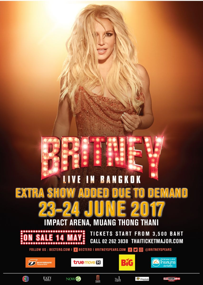 Britney Spears First Bangkok Show On 24 June Sold Out Due To Overwhelming Demand Second Show Announced Bec Tero Entertainment